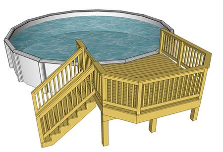 Above Ground Pool Deck Plan 10x10 Decks Com By Trex