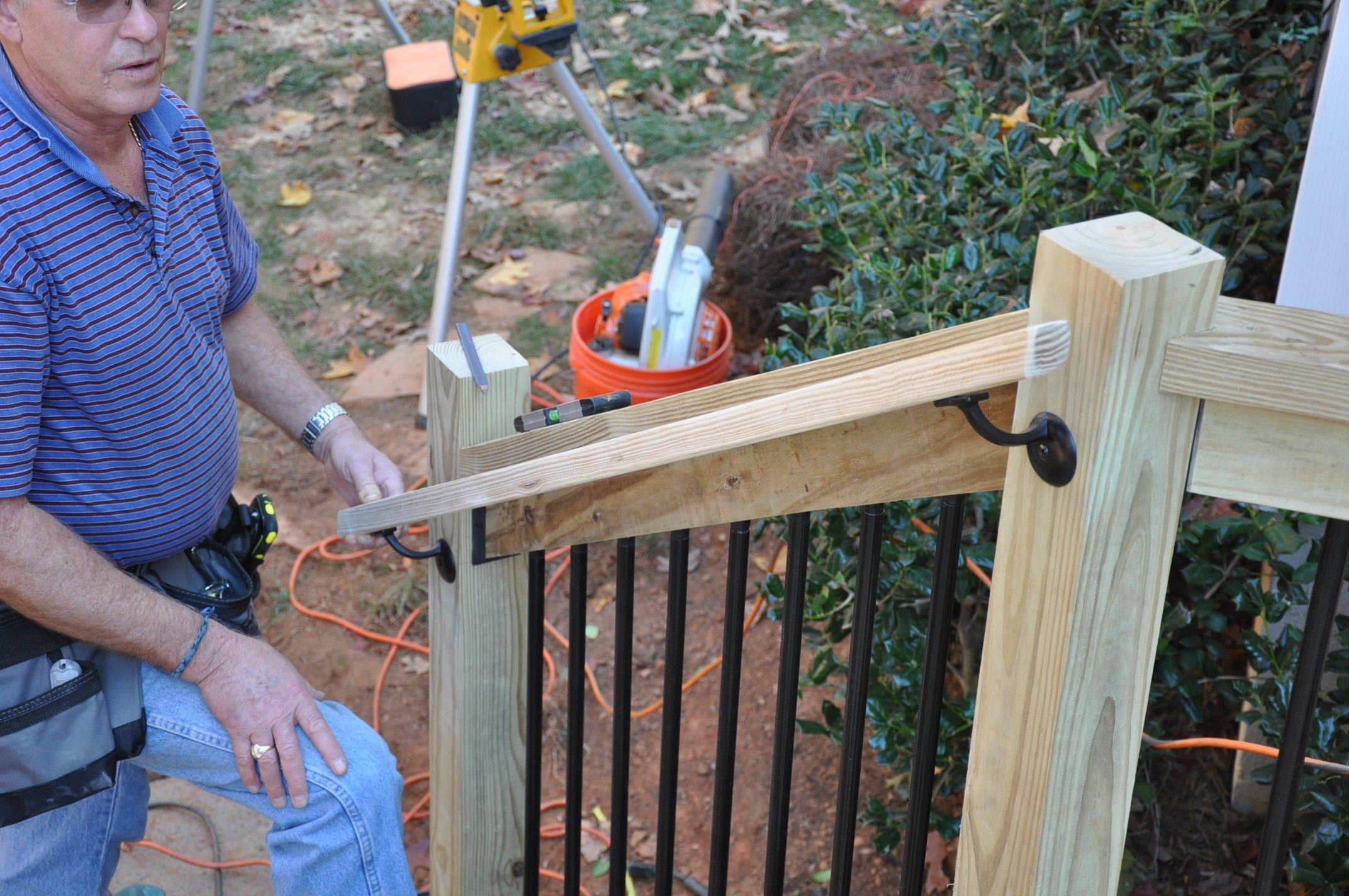 Installing Deck Stair Railings, How To Build A Wooden Handrail For Outdoor Steps