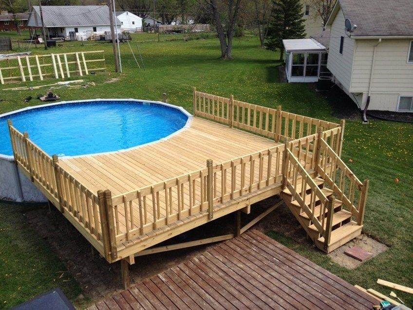 Building An Above Ground Pool Deck Decks Com By Trex